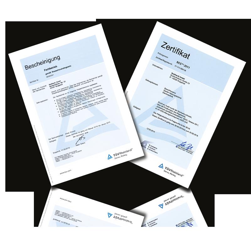 Bescheinigung gemäß Wasserhaushaltgesetz Zertificat SCC**:2011